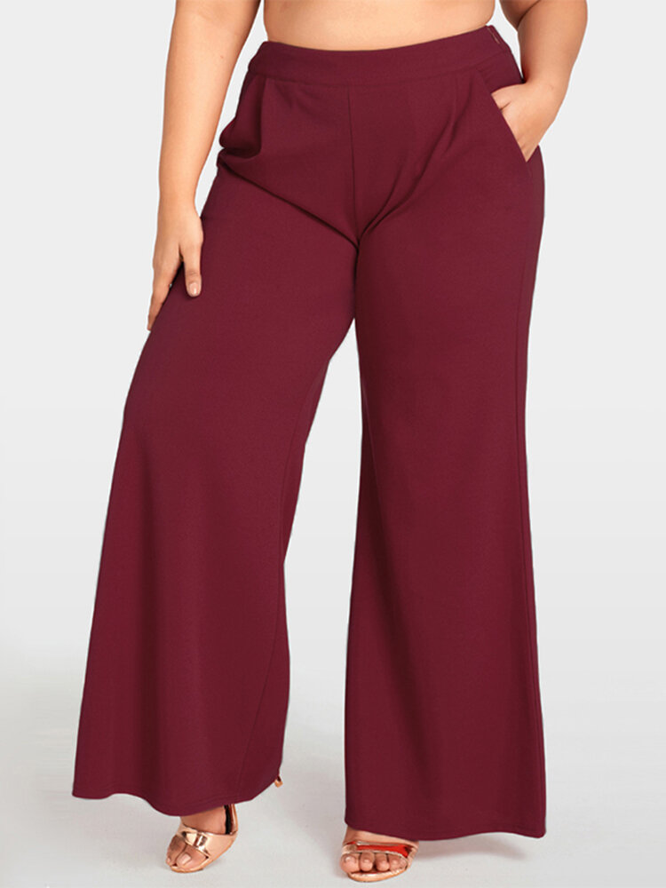 b145050cd7b plus size work style solid color high waisted wide leg pants at Banggood