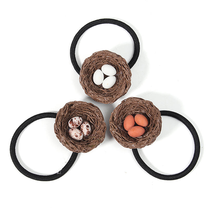 Cute Hen House Blanc Orange Brown Egg Cheveuxpin Cheveux Ring Cerceau Gift