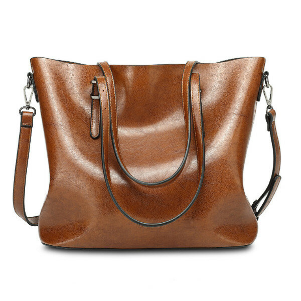 d517af2cab Women Oil Leather Tote Handbag Vintage Shoulder Bag Capacity Big Shopping Tote  Crossbody Bag COD