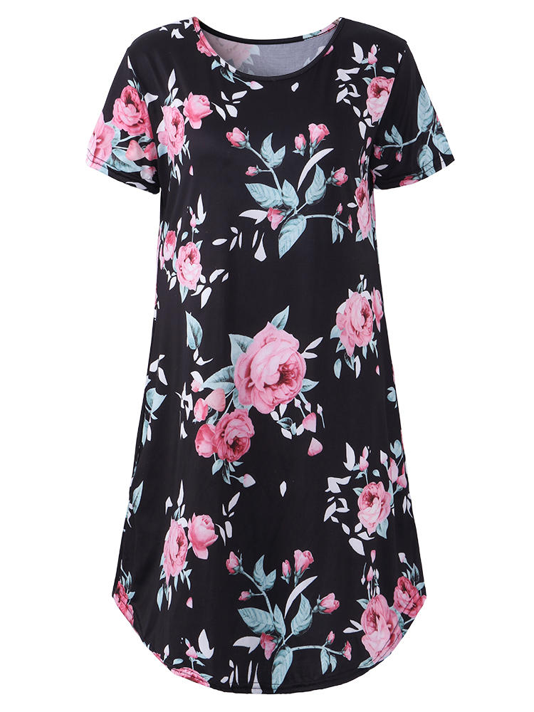 d6bd31d155 Casual Women Floral Printed Short Sleeve Scoop Neck T-shirt Dress With  Pocket COD
