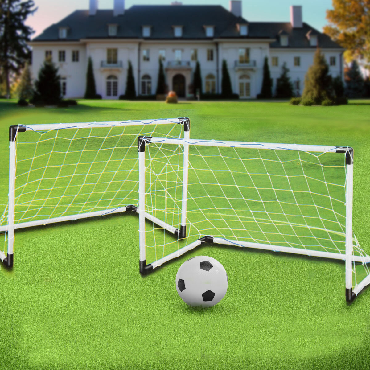 2 Mini Set Football Soccer Goal Post Net + Ball + Pump Kids Outdoor Sport  Training COD 4fc752fc9633