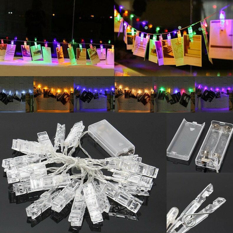 แบตเตอรี่ Powered 2.2M 20LED รูป Peg Clip รูปแบบ Fairy String Light สำหรับแขวนภาพการ์ด