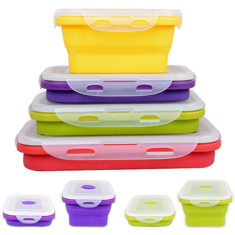 IPRee® 4 Size Collapsible Silicone Lunch Boxes Portable Food Storage Kitchen Containers