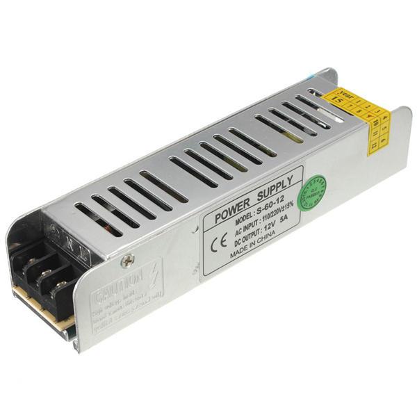 แหล่งจ่ายไฟแบบสวิตช์เล็ก 60 วัตต์ 85-265V to 12V 5A for LED Strip Light