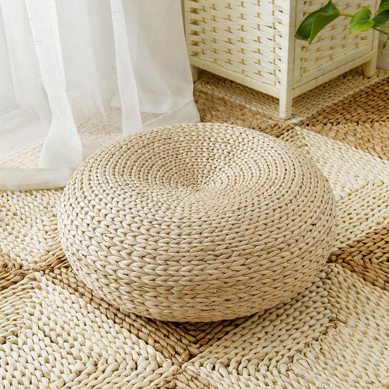 Mrosaa Natural Straw Washable Tatami Cushion Floor Seat Cushions Mat Round Thicken For Meditation Yoga Window Pad Chair Sitting Home Decor Cod