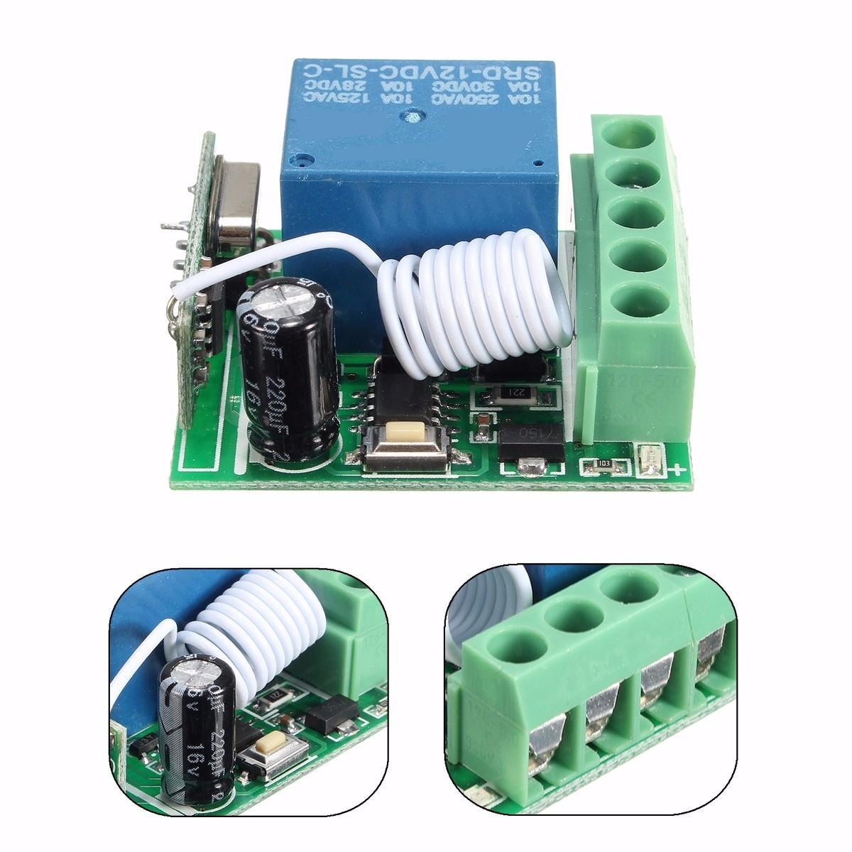 3pcs DC12V 10A 1CH 433 MHz Sans Fil Relay RF Télécommande Interrupteur Récepteur Conseil