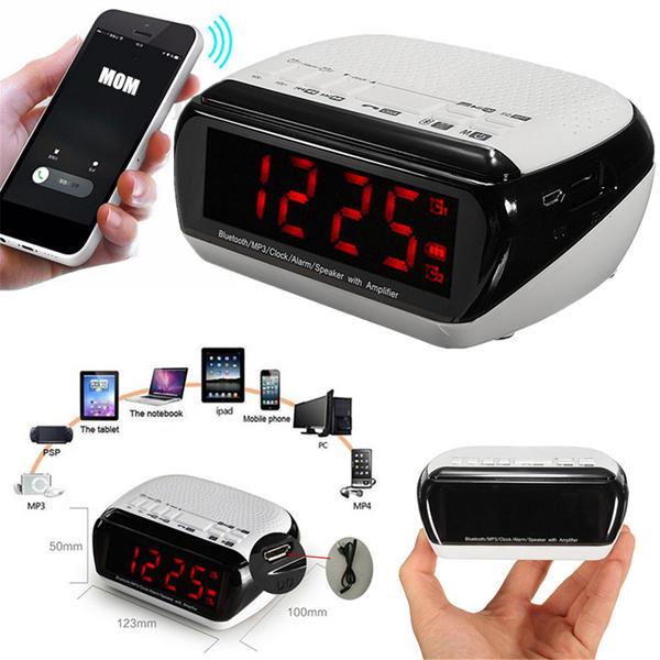 bluetooth LED Wireless Speaker Mic LCD Alarm Clock TF FM Radio MP3 Music Player