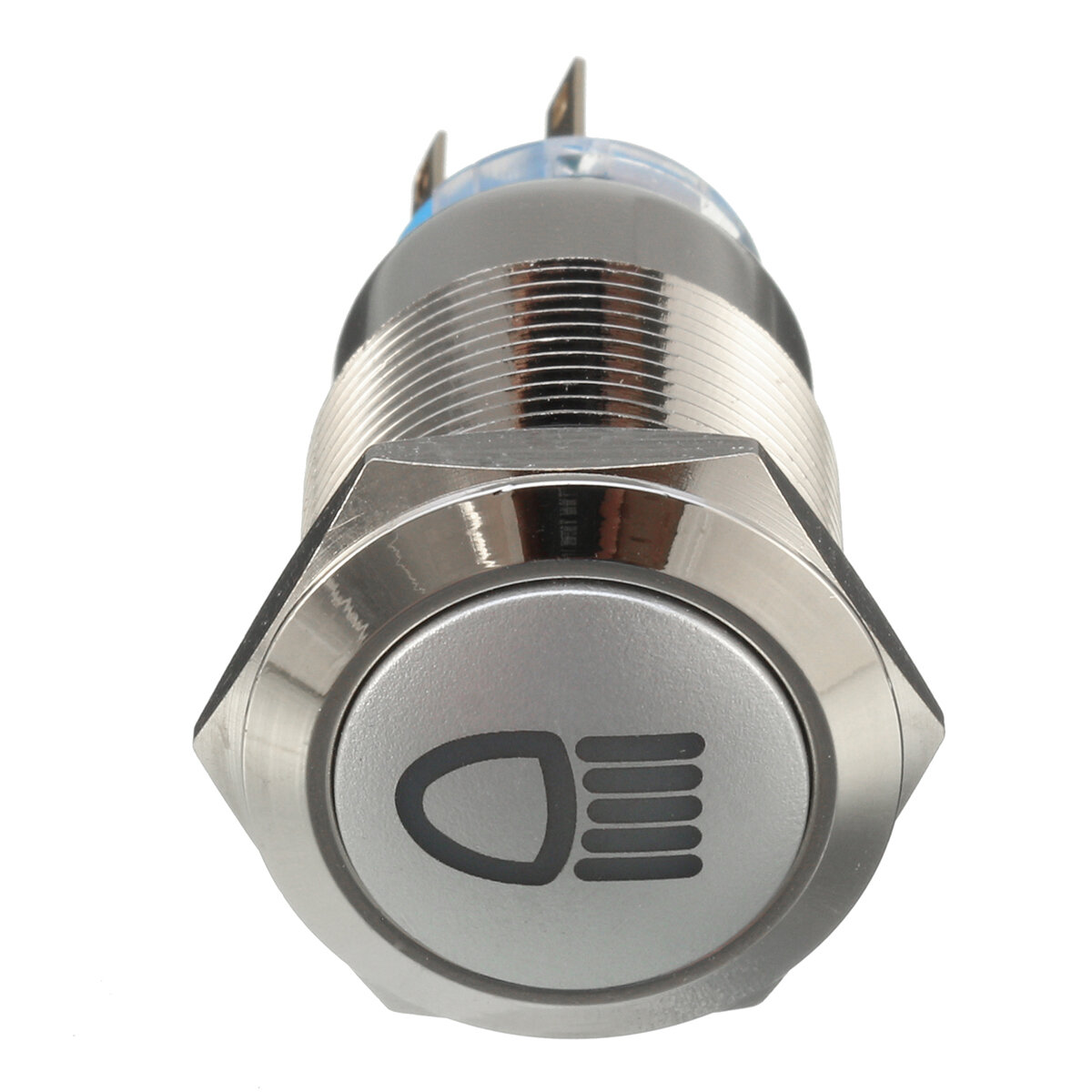 12v 19mm Silver Metal Led Push Button On Off Latching Switch Light