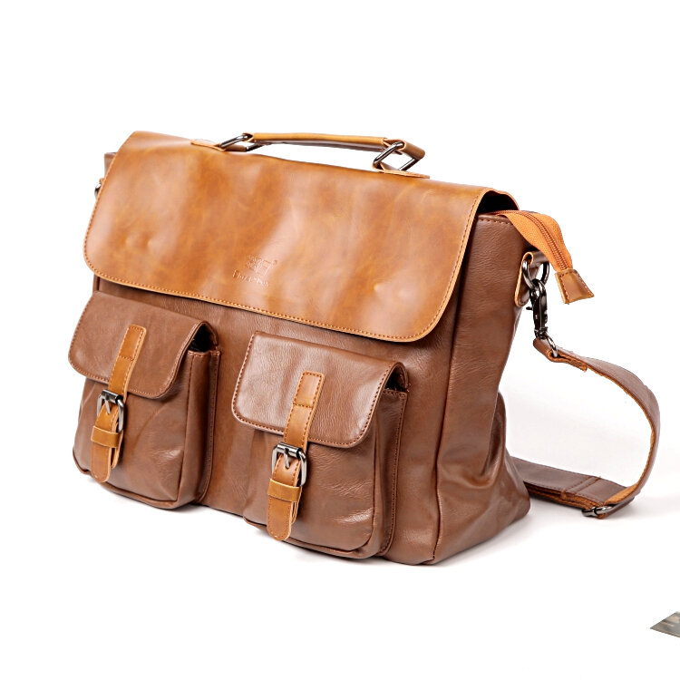a08c1868ee Men Multi-pocket Vintage PU Leather Large Capacity Laptop Briefcase  Crossbody Bag COD