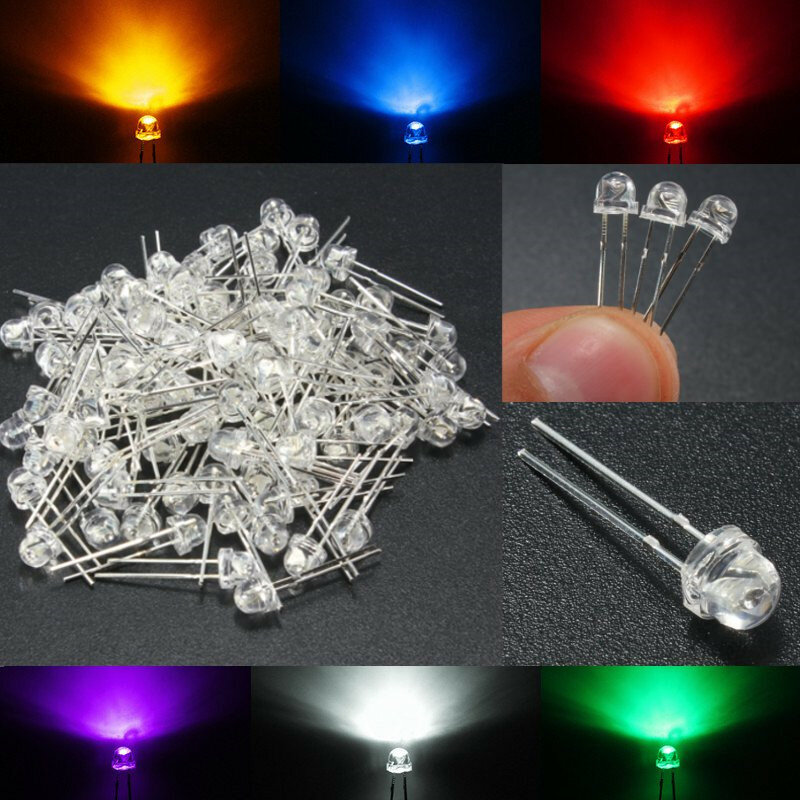 100PCS 5MM 6 Color Straw Hat LED Emitting Diodes Water Clear DIY Wide Angle Light