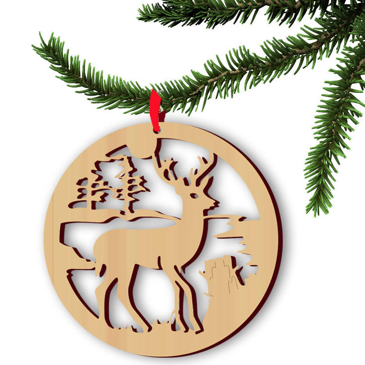 5pcs Wooden Christmas Deer Pendan Computer Laser Hollow Out Widget Ornaments Wooden Christmas Decorations COD