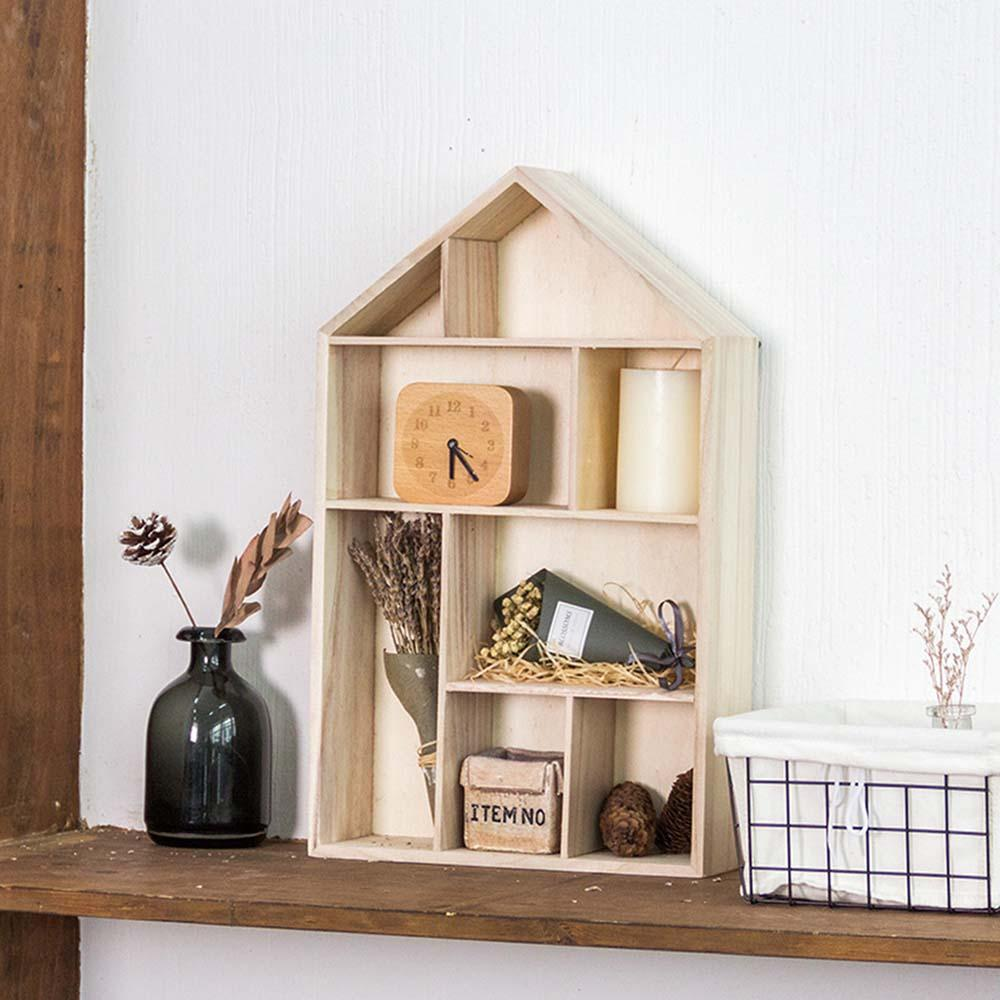 New Wooden House Shape Wall Storage Rack Cube Display Stand