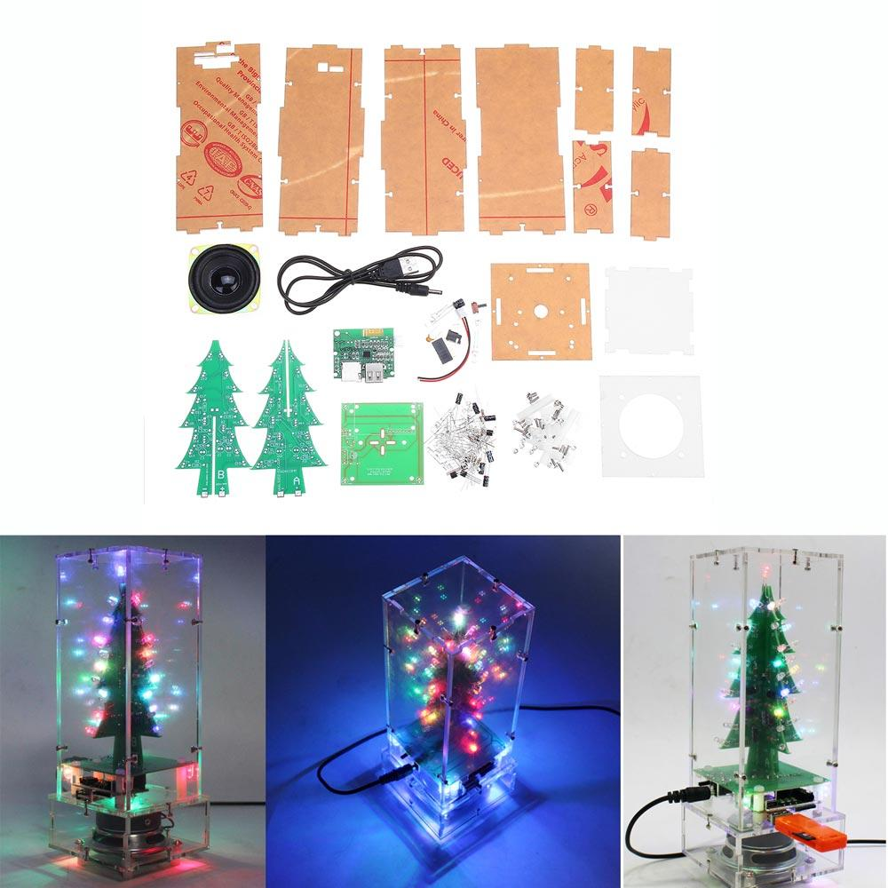 DIY Colorful Christmas Tree bluetooth MP3 Electronic Production Kit Music Remote Control Audio