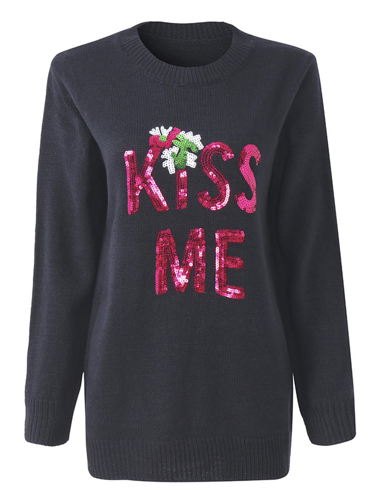 Christmas Letters KISS ME Sequined Long Sleeve Knitted Pullover ...