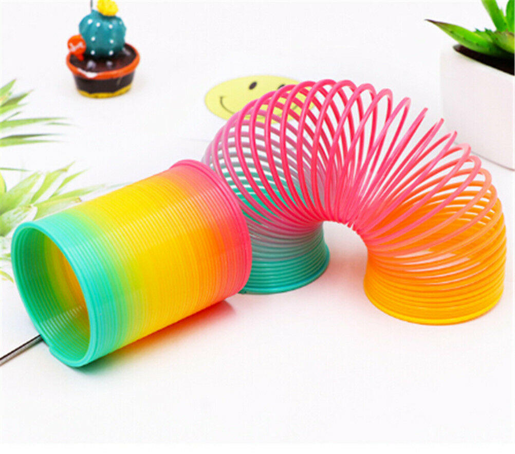 Plastic Slinky Rainbow Circle Folding Coil Colorful Spring Children Funny Classic Toy Development Toys Gift