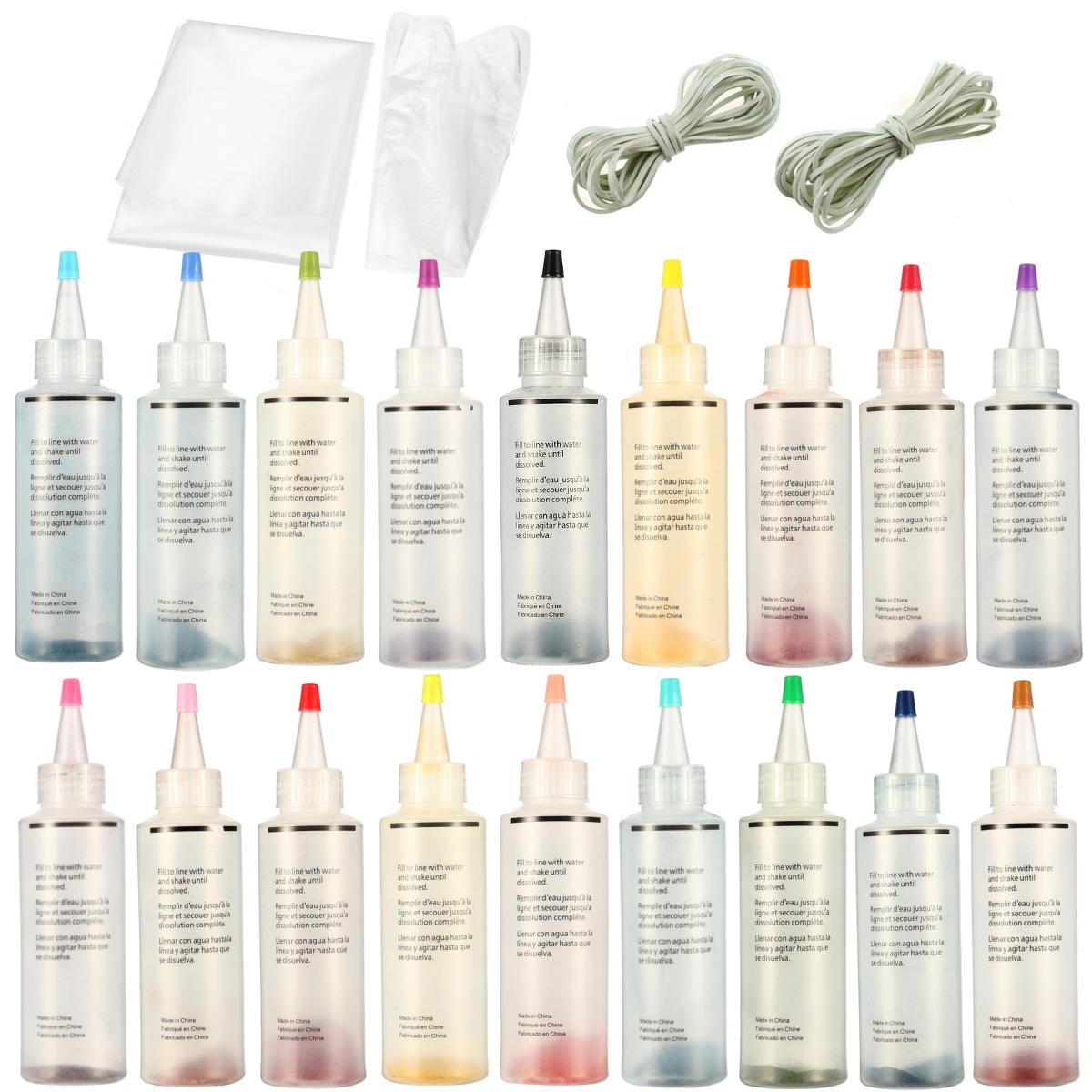 18Pcs Tulip One Step Tie Dye Kit Vibrant Fabric Textile Permanent Paint Colors Pigment