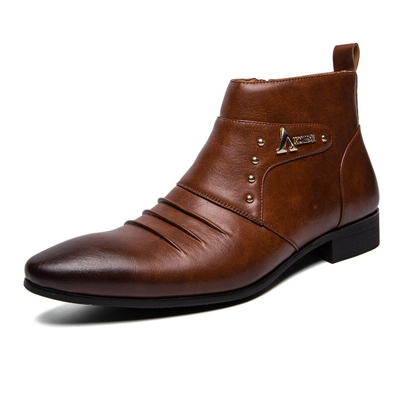 Men Casual Genuine Leather Pointed Toe Business Ankle Boots