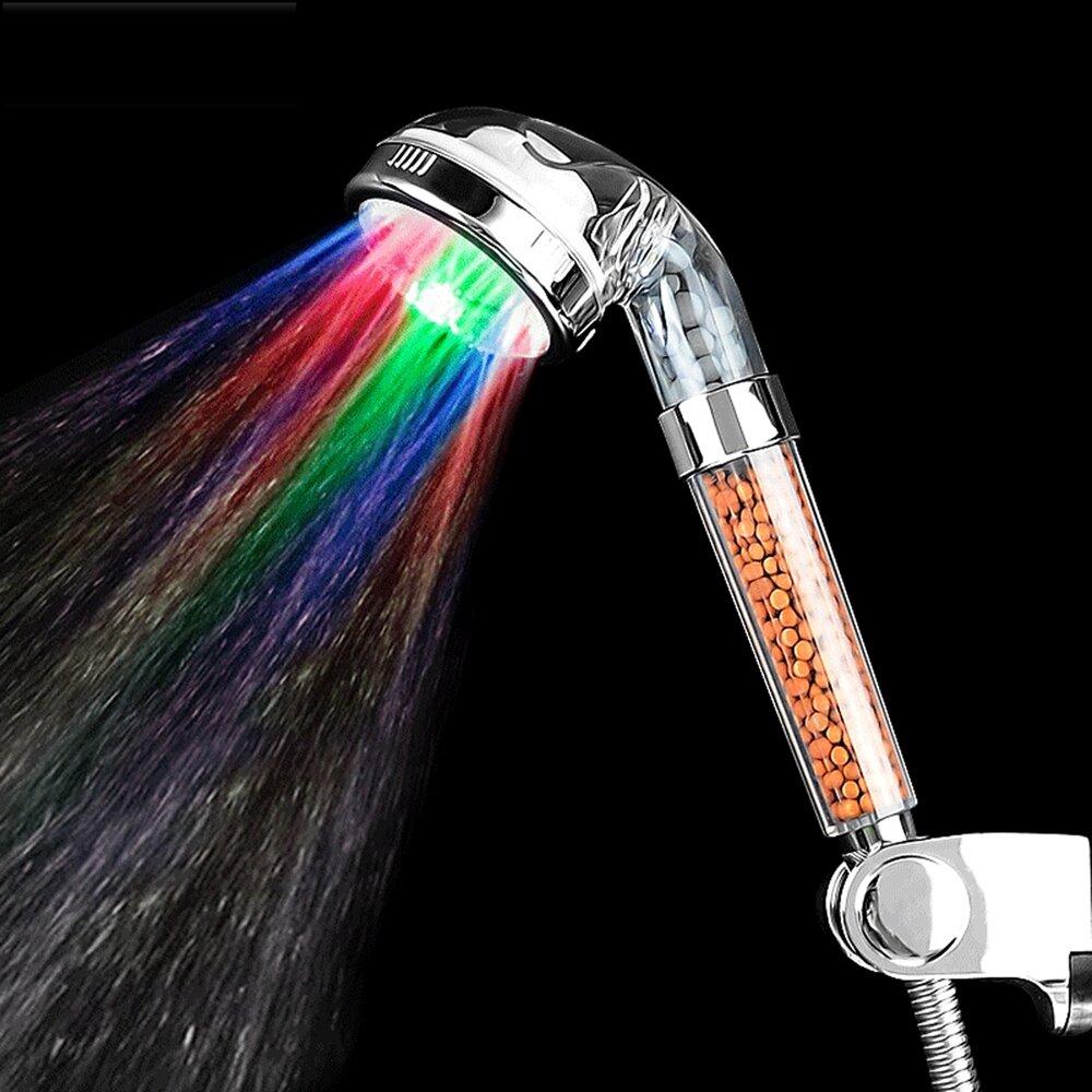 Handheld 7 couleur LED romantique bain d'eau légère maison bain douche tête lueur