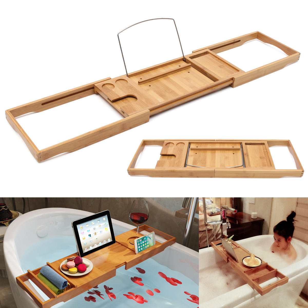Bathtub Caddy Bamboo Bath Tub Holder Bathroom Tray Glass Book ...