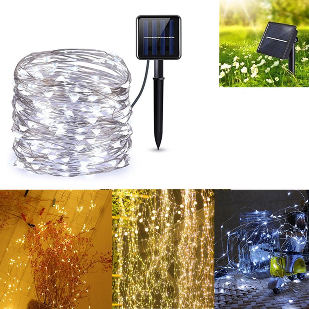 Solar Alimentado 8 modos astilla Alambre 200 LED Árbol de navidad Fairy String Boda Inicio Party Light DC2V