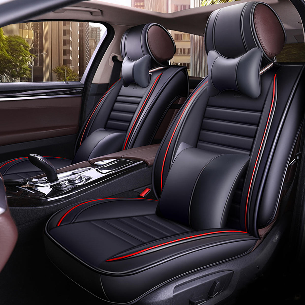 13Pcs PU Leather Car Full Surround Seat Cover Cushion Protector Set Universal For 5 Seats