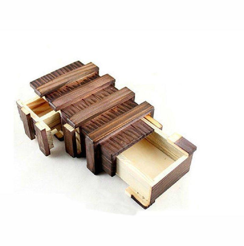 Antique vendimia Almacenamiento de madera oculto Magia regalo Caja Puzzle Teaser Puzzle Chest Toy