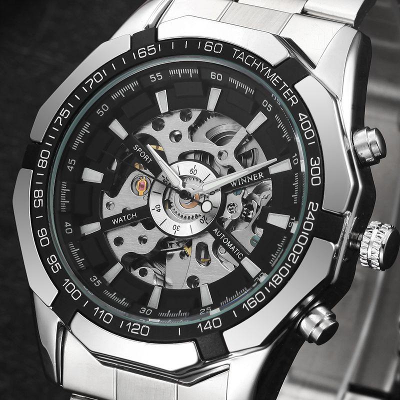 MN4493 Reloj de pulsera de acero inoxidable para hombre con reloj automático Mecánico
