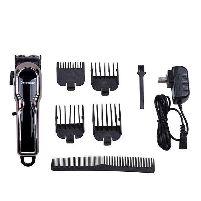 SURKER Máquina de afeitar eléctrica inalámbrica Cabello Clipper recargable LCD Digital Pantalla Trimmer Kit
