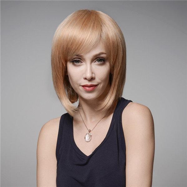 Onda elegante estrondo lado peruca de cabelo humano de Remy do Virgin mono 32 centímetros superior sem tampa