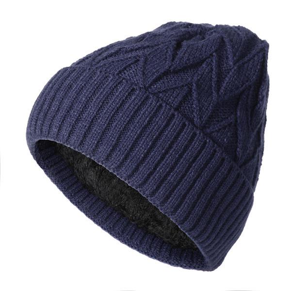 Mens Winter Velvet Varm Strikerad Solid Beanie Hat Casual Outdoor Skullies Cap