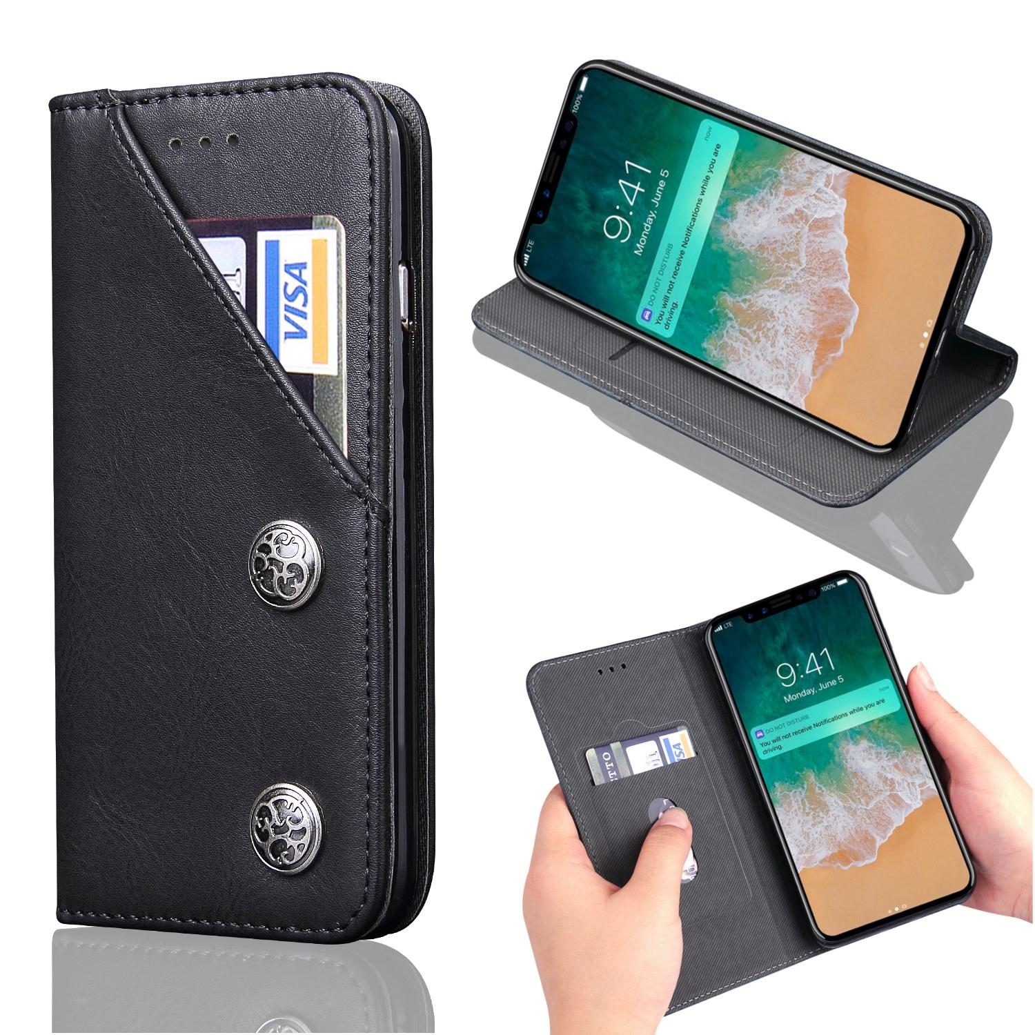 Retro Flip Card Slot Bracket Magnetic PU Leather Case Cover for iPhone X