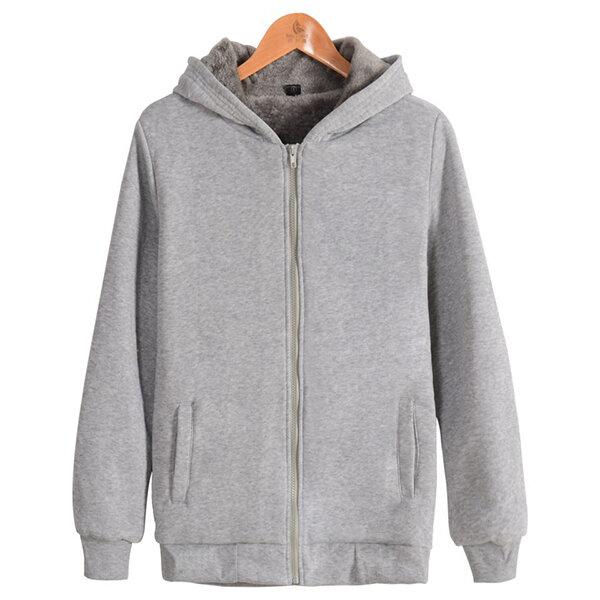 남성 캐시미어 두꺼운 웜 스웨터 후드 큰 사이즈 캐주얼 솔리드 컬러 긴팔 지퍼 후드