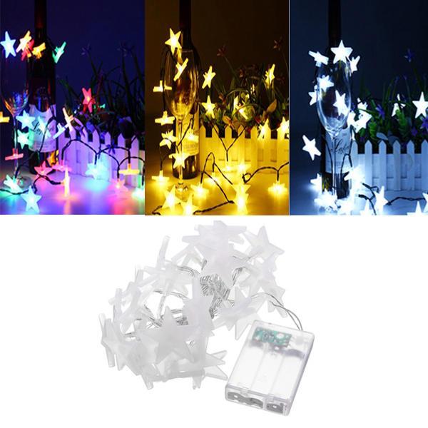 Batería Powered de 3,3M 30LEDs heladas cinco estrellas de hadas de luz de la cadena de Navidad Boda Decoración Lámpara