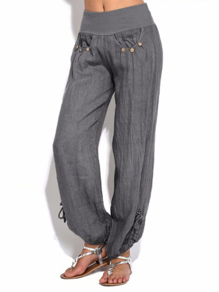 db4eb663caa Women Casual High Waist Pure Color Button Yoga Harem Pants - Gray 10 COD
