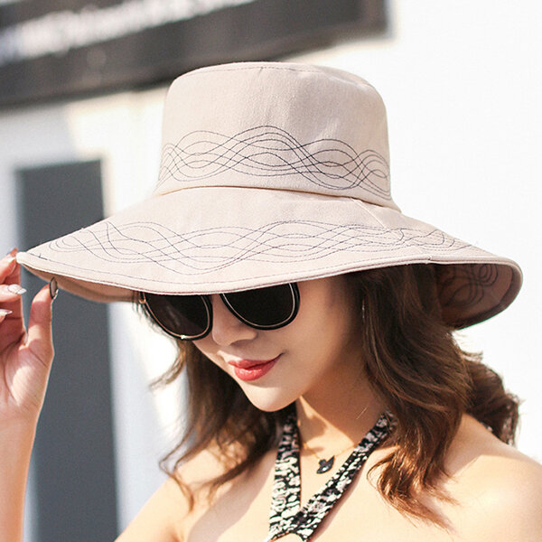 50afe92608b96 Women Traveling 100% Washed Cotton Bucket Hat Summer Classic Outdoor Wide  Brimmed Cap