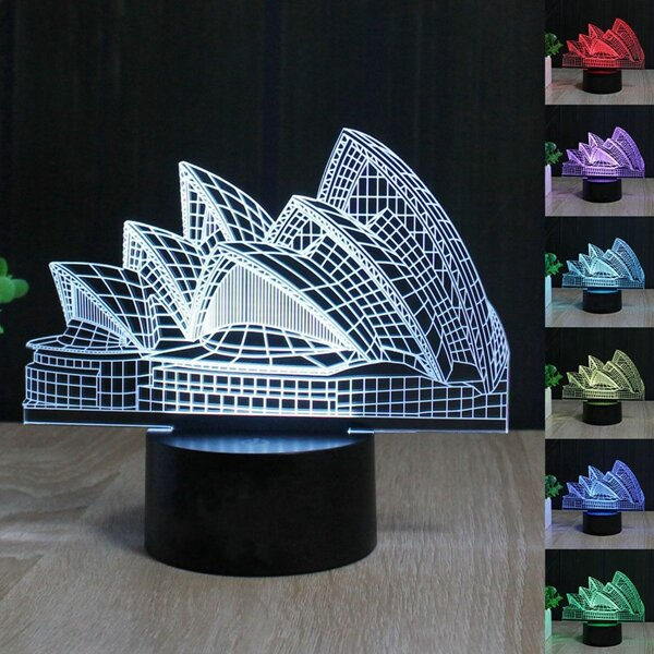 Christmas Decorations Shops Sydney: Sydney Opera House 3d Night Light 7 Color Led Touch Switch
