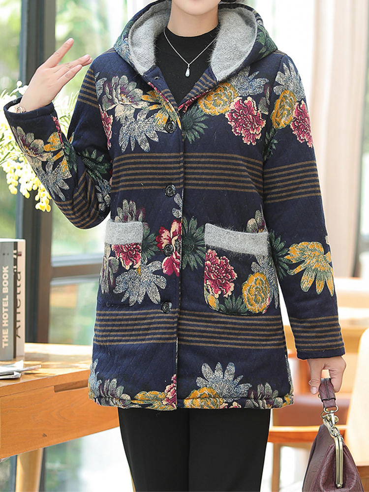 ad7a571c360 women floral print patchwork button long sleeve hooded coats at Banggood