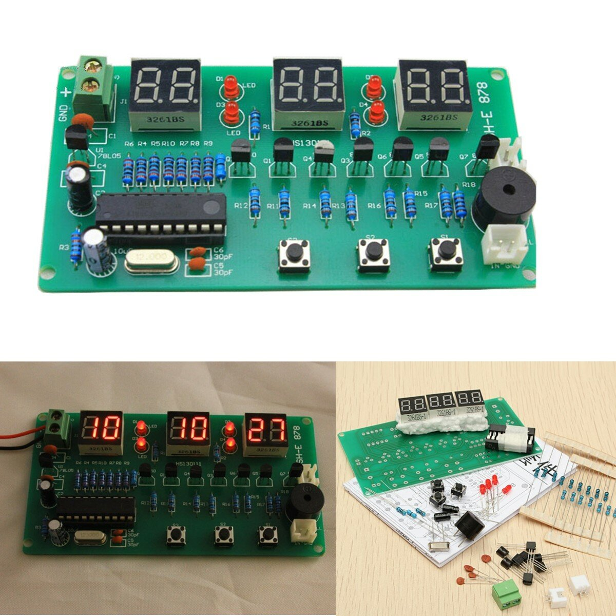 5v 12v At89c2051 Multifunction Six Digital Led Diy Electronic Clock Lm317 Automatic Low Cost Emergency Light Circuit Book Free Kit