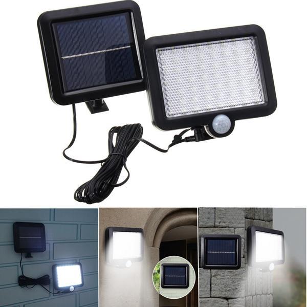 Énergie Solaire 56 Blanc LED PIR Capteur de Mouvement Projecteur Mural Étanche Lampe de Sécurité de Jardin Extérieur