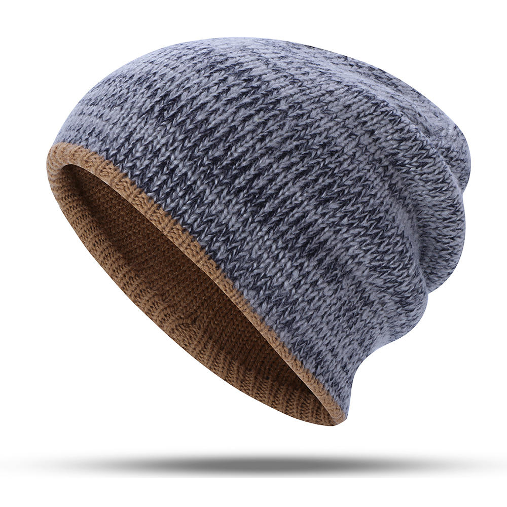 77bb6212424c1 Double-Sided Wearing Double-Layer Knit Hat Winter Warm Ear Protector Beanie  Cap