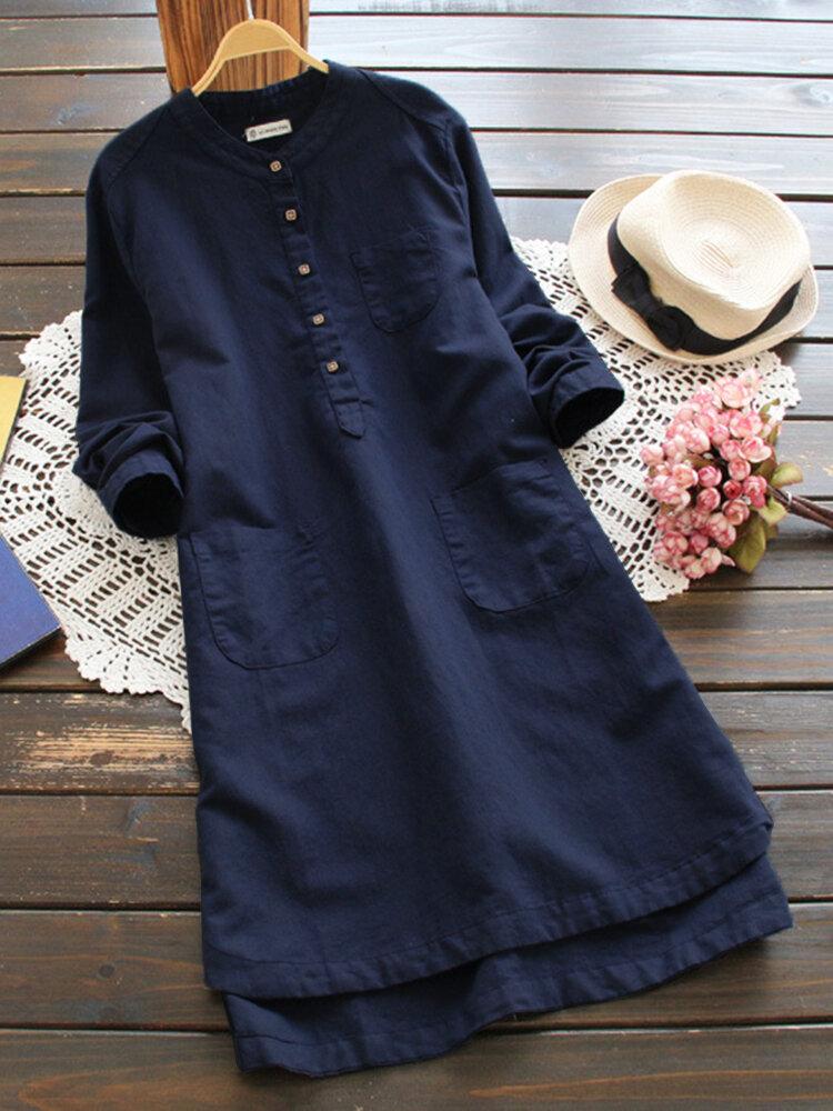 Women Vintage Long Sleeve Buttons Cotton Mini Shirt Dress