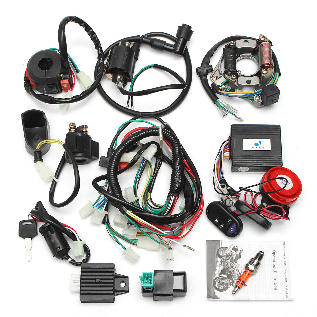 Alarm System CDI Wiring Harness Remote Start Switch High Security ...
