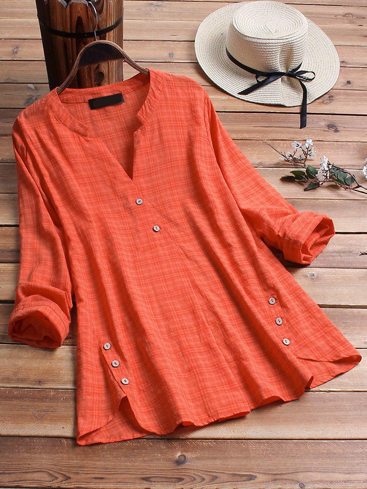 Women Casual Plaid Side Button V-Neck Long Sleeve Blouse