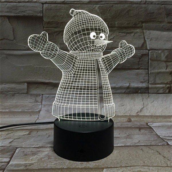 크리스마스 눈사람 3D LED 조명 다채로운 터치 밤 빛 선물 USB 테이블 비주얼 조명