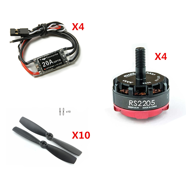 Emax RS2205-2300KV CW/CCW Brushless Motor FVT LittleBee 20A ESC Kingkong 5045 Propeller Power Combo