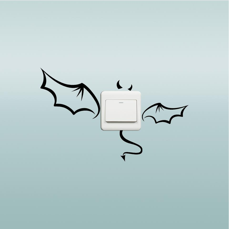 Honana Creative Devil Bat Switch Sticker Cartoon Waterproof Vinyl Wall Decor Home Wallpaper