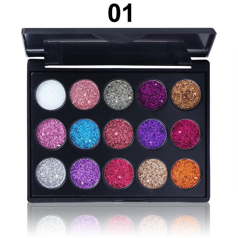 CmmaDu 15 couleurs Palette Ombre à Paupières Glitter Longue Durée Glitter Ombre à Paupières Diamond Palette Ombre à Paupières