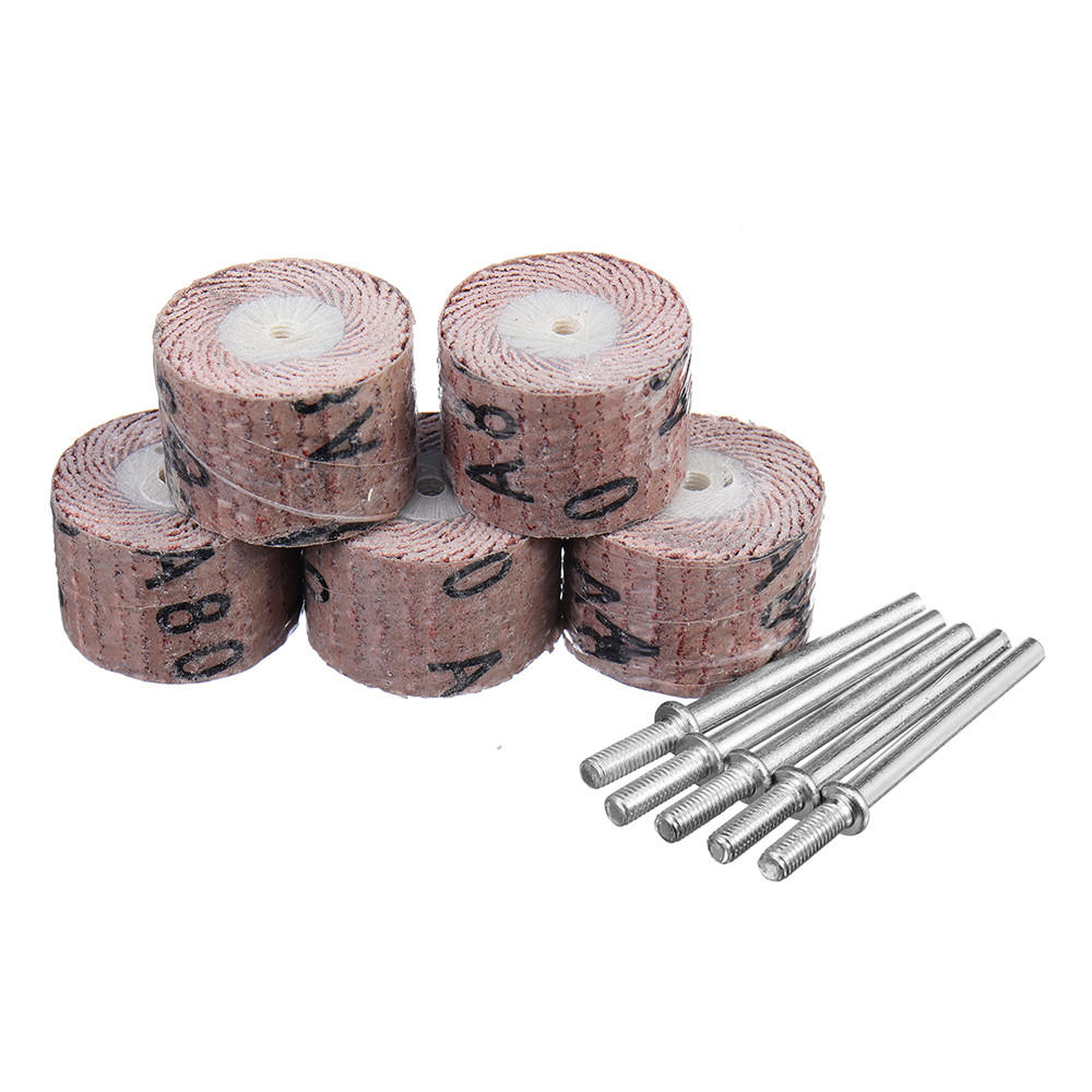 5pcs 80-600 Grit 20mm Sanding Wheel Discs Grinding Sandpaper Rotary Accessories