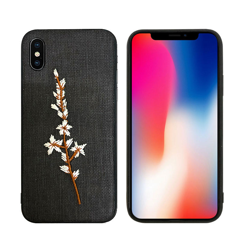 AUGIENB Embroidery Cloth Shockproof Protective Case For iPhone X/XS/8/8 Plus/7/7 Plus/6s/6s Plus