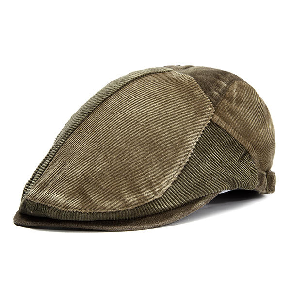 Hommes Vintage Corduroy Berets Caps Outdoor Casual Visor Adjustable Forward Hats